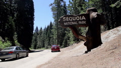Sequoia National Park Entrance Sign (wide) Redwoods Stock Footage