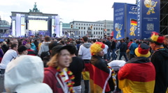 Happy Crowd People Celebrating Germany Round 16 Public Viewing Berlin World Cup - stock footage