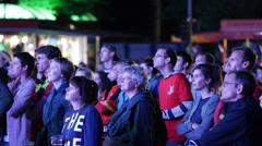 Belgium Football Team Big Group Fan Happy Supporters Focus Public Viewing Berlin Stock Footage