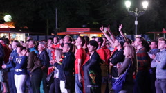 World Cup Audience Belgium Team Fan Happiness Supporter Cheering Euphoria Berlin Stock Footage