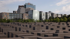 Berlin Skyline Cityscape Memorial to Murdered Jews of Europe City Center Day Stock Footage