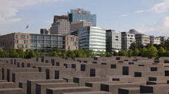 Stock Video Footage of Berlin Skyline Jews Monument Potsdamer Platz Office Towers Corporate Buildings