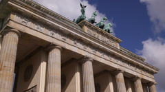 Iconic Brandenburg Gate Berlin Germany Branderburger Tor Famous Landmark Daytime Stock Footage