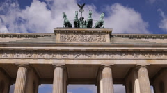 Horse Quadriga Retro Sculpture National Famous Place Brandenburg Gate Berlin Day Stock Footage
