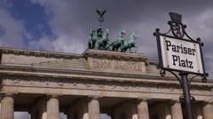 Brandenburger Tor Brandenburg Gate Berlin Germany Landmark Pariser Platz Sign Stock Footage