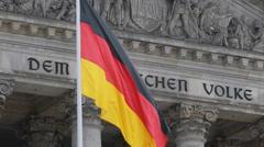 Front Facade Dem Deutschen Volke German Reichstag Bundestag Building Berlin Flag Stock Footage