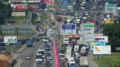 Heavy traffic jam on Leningradskoe Shosse street in Moscow, Russia. Stock Footage