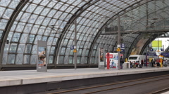 Berlin Central Train Station Passengers Platform Intercity Express ICE Arriving Stock Footage