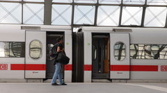 Closing Doors Prepare for Departure Intercity Express ICE Berlin Train Station - stock footage