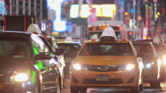 Night car traffic on New York City street Stock Footage