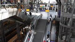 Berlin Central Station Hauptbahnhof Building Interior People Commuting Transit Stock Footage