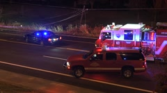 Police Fire And Medical At Car Crash Scene Stock Footage