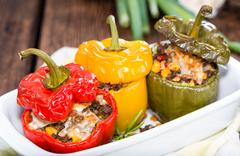 stuffed peppers (with meat, herbs and cheese) - stock photo