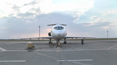 jet Yak-46d stands at the airport on the tarmac - stock footage