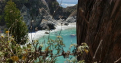 4K Big Sur McWay Falls Dolly 02 Up Pacific Coast California Stock Footage