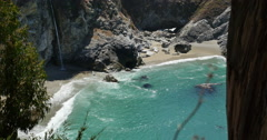 4K Big Sur McWay Falls Dolly 03 Down Pacific Coast California Stock Footage