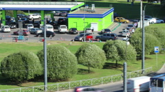 Timelapse 4K of Neste gas station at summer, St Petersburg city, Russia Stock Footage