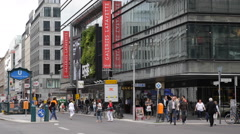 Tourist Attraction Travel Destination Establishing Shot Berlin Shopping Street Stock Footage