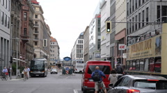 Busy City Crosswalk Crossroad Shopping Street Road Car Passing Traffic Berlin Stock Footage