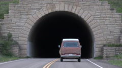 Hippy Van enters dark tunnel Mesa Verde Colorado 4K 111 - stock footage