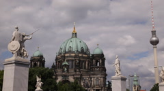 Berlin Cathedral Church Cupola TV Tower Iconic Old Sightseeing Place Sunlight Stock Footage