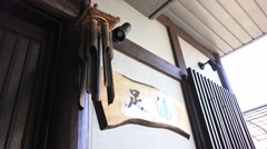 Wooden Wind Chime At Door Of Japanese Bar 4K Stock Footage