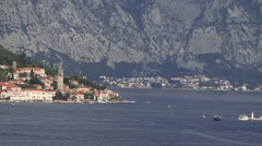 Kotor Montenigro panning shot of harbor with islands churches vista Stock Footage