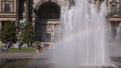 Water Fountain Stream Rainbow Front Facade Berlin Cathedral Dome People Walking Stock Footage