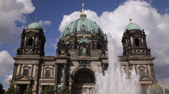 Berlin Cathedral Famous Tourists Attraction Water Fountain City Center Landmark Stock Footage