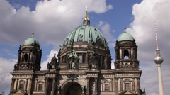 Iconic German Symbol Berlin Cathedral TV Tower Capital City Center Germany Icon Stock Footage