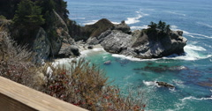 4K Big Sur McWay Falls Dolly 06 Back Pacific Coast California Stock Footage