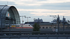 Airplane Landing Bus Passing ICE Intercity Express Train Departing Cars Berlin - stock footage