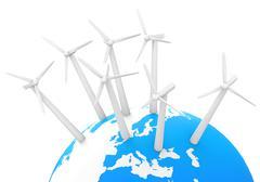 the wind turbines - stock illustration