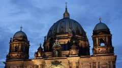 Illuminated Night Evening Berlin Cathedral Famous Tourists Attraction Landmark Stock Footage