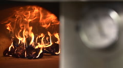 Stock video footage fire in the pizza oven Stock Footage