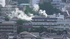 Steam Rises Over City Of Beppu Japan - Looks Like Smoke And Fire 09 4K Stock Footage