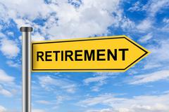 yellow road sign with retirement words - stock illustration