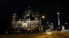 Late Night Nightlife Berlin City Center Landmarks People Commuting Cars Passing Stock Footage