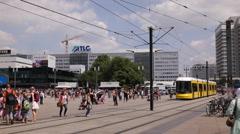 Alexanderplatz City Center Berlin Commuters Commuting Tram Ride Tramway Passing Stock Footage