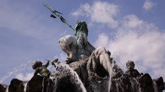 View of Water Fountain Famous Neptune Statue Greek God Poseidon Sculpture Berlin Stock Footage