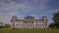 Stock Video Footage of Bundestag Building Tourists Visit Sightseeing Daytime German Symbol People Crowd