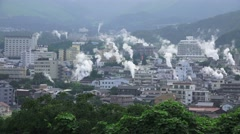 Steam Rises Over City Of Beppu Japan - Looks Like Smoke And Fire 11 4K Stock Footage