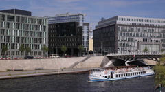 Busy City Car Traffic Berlin Spree River Tour Boat Passing TV Tower Landmark Day Stock Footage