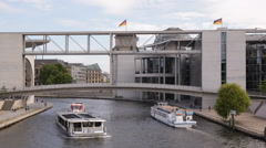 Berlin Spree River Touristic Ship Tour Boat German Parliament Sights Landmarks Stock Footage