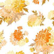 seamless pattern decorative chrysanthemum for invitations, cards, scrapbooking - stock illustration
