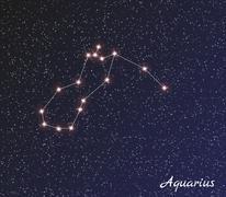 constellation aquarius - stock illustration