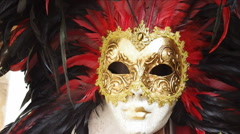 Red carnival mask. - stock footage
