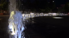 Water fountain in park slowmo Stock Footage