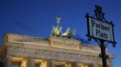 Pariser Platz Street Sign Illuminated Night Brandenburg Gate Berlin Landmark Stock Footage