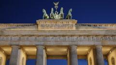 Historic Columns Berlin Iconic Brandenburg Gate Quadriga Evening Night Lights Stock Footage
